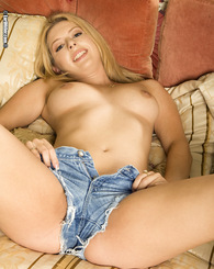 Kodi Gamble wiggles her butt out her tight little jean cut-offs and gets down to her favorite pastime, jamming hard objects into her tight little puss